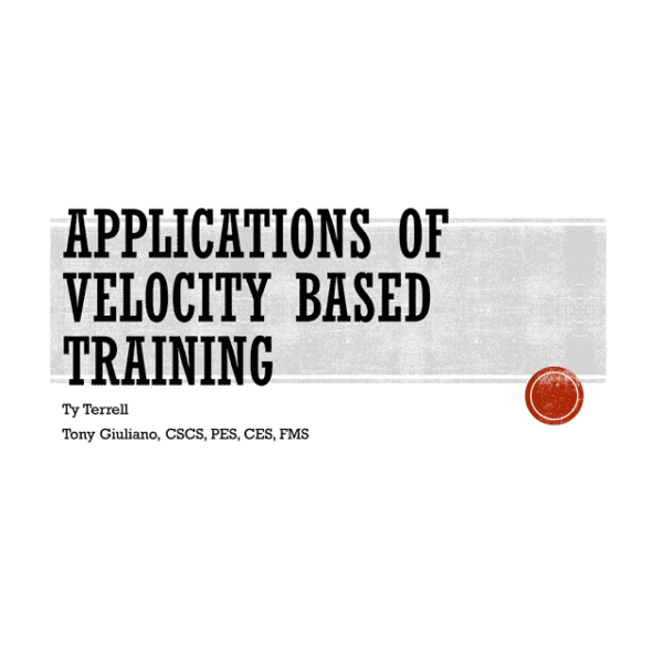 Applications of Velocity Based Training introduction slide